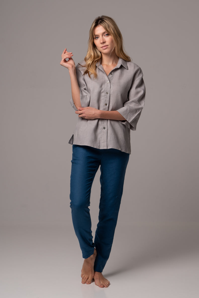 Touch of Sand Wide Sleeve Shirt in Premium European Linen
