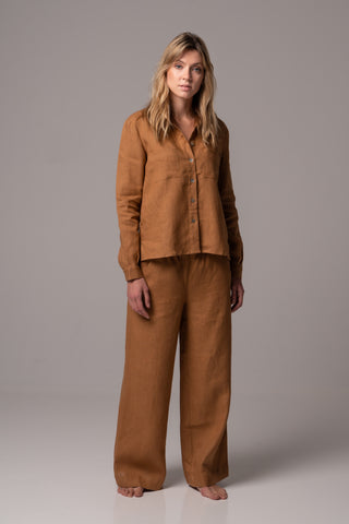 Touch of Sand Long Sleeve Classic Shirt in Premium European Linen