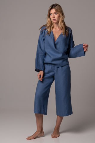 Sleepy Blue Wide Sleeve Shirt in Premium European Linen