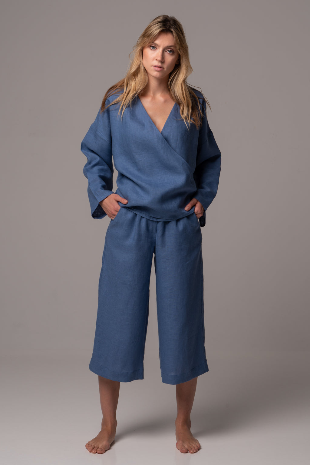 Endless Sea Wide Leg 3/4 Culottes in Premium European Linen
