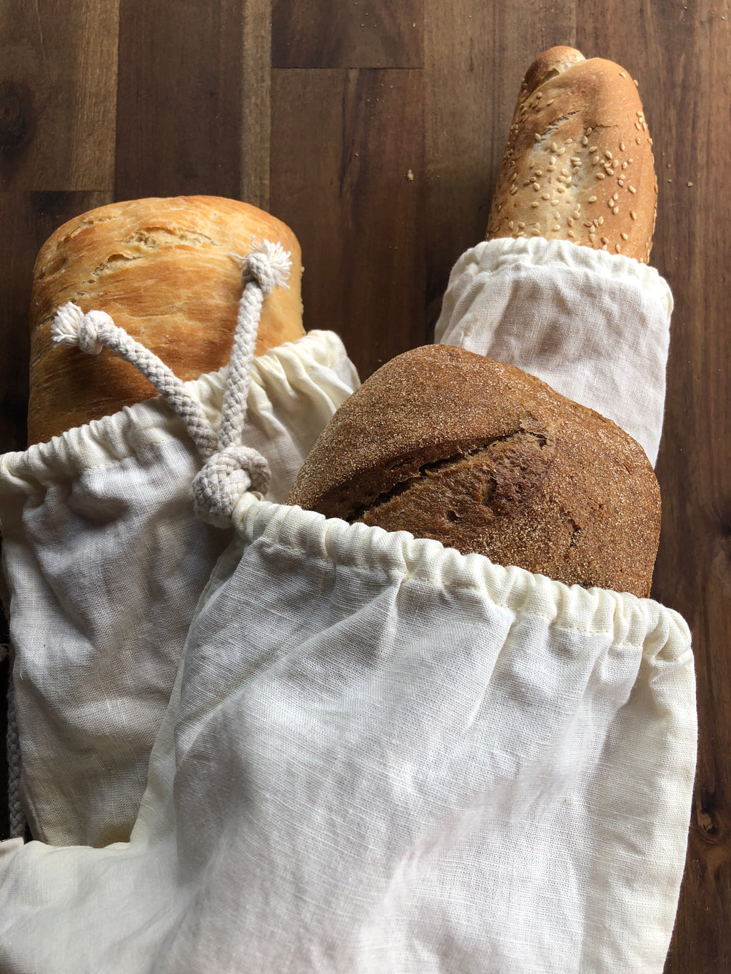 Linen  baguette bread bag