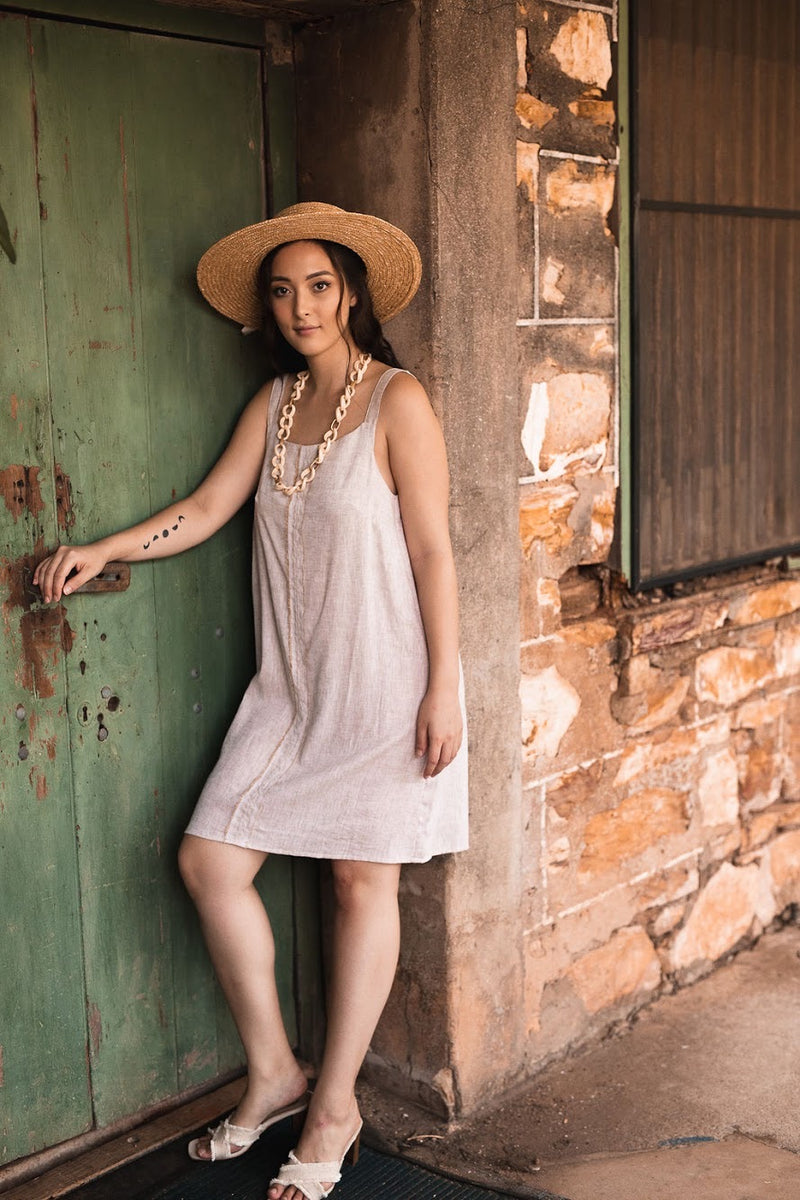 Basic Eva A-line Dress in Linen