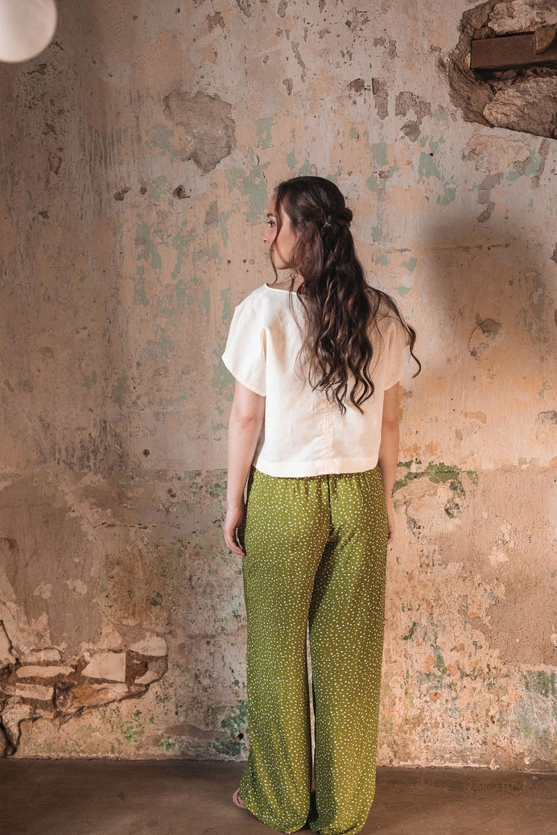 Olive Polka Dot Pina Wide Leg Pants in Rayon