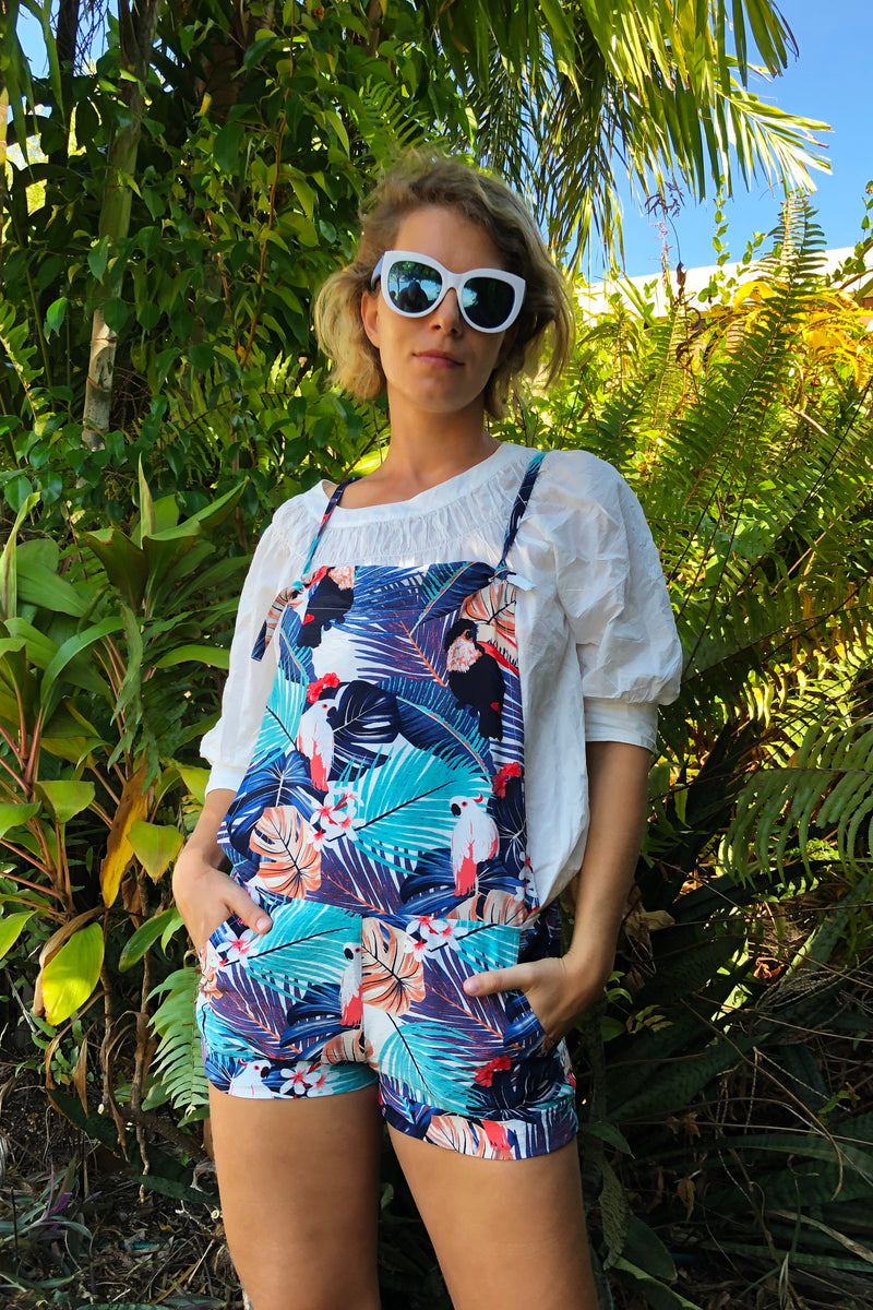 Funky Parrots Navy Jumpsuit in Silky Cotton