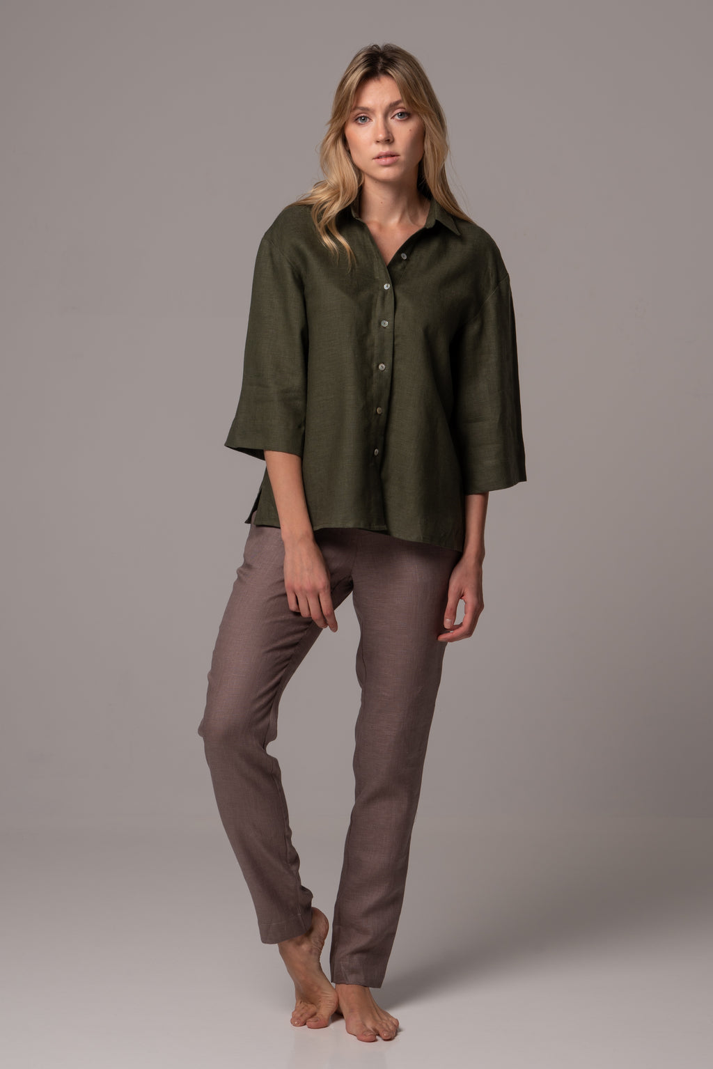 Ripe Olive Wide Sleeve Shirt in Premium European Linen