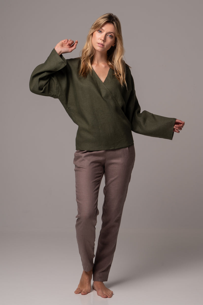 Ripe Olive Long Sleeve Wrap Top in Premium European Linen