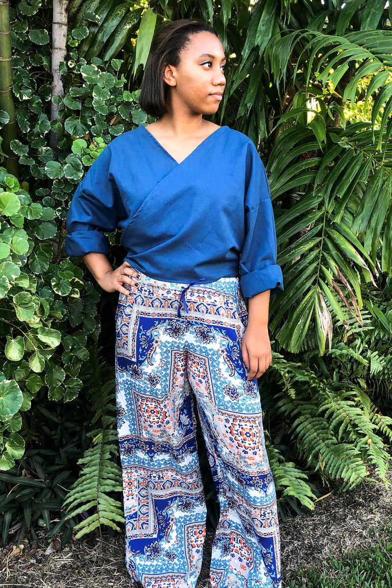 Wide Leg Pina Pants in Light Blue Rayon