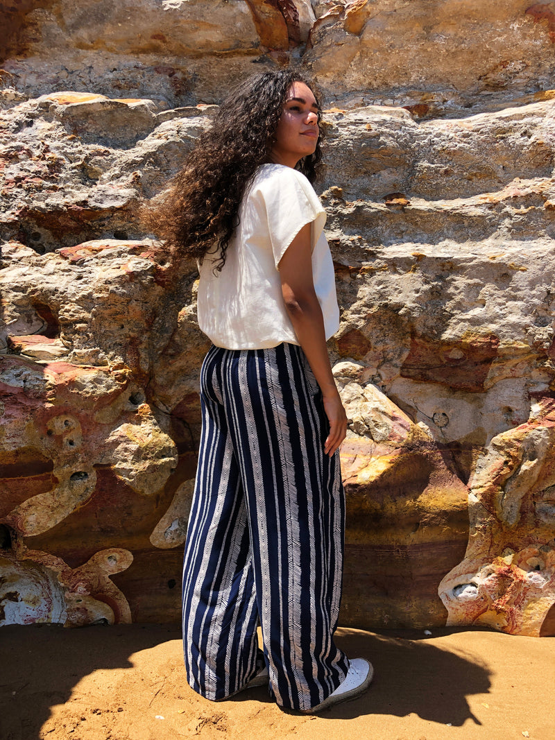 Navy Stripes Pina Wide Leg Pants in Rayon