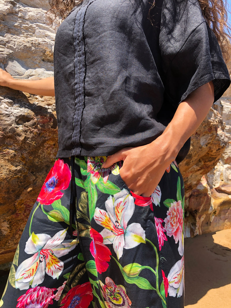 Luxury Black Floral Pina Wide Leg Pants in Rayon