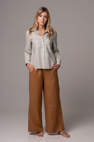 Tassel Long Sleeve Classic Shirt in Premium European Linen