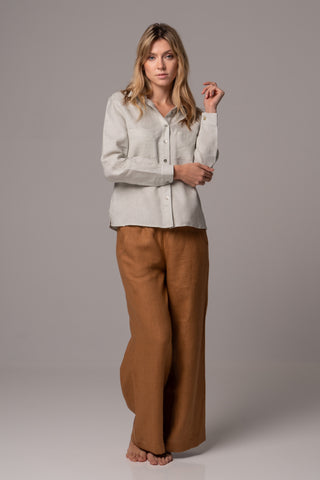 Endless Sea Long Sleeve Wrap Top in Premium European Linen