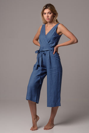 Endless Sea Wrap Front Jumpsuit with Culotte Leg in Premium European Linen