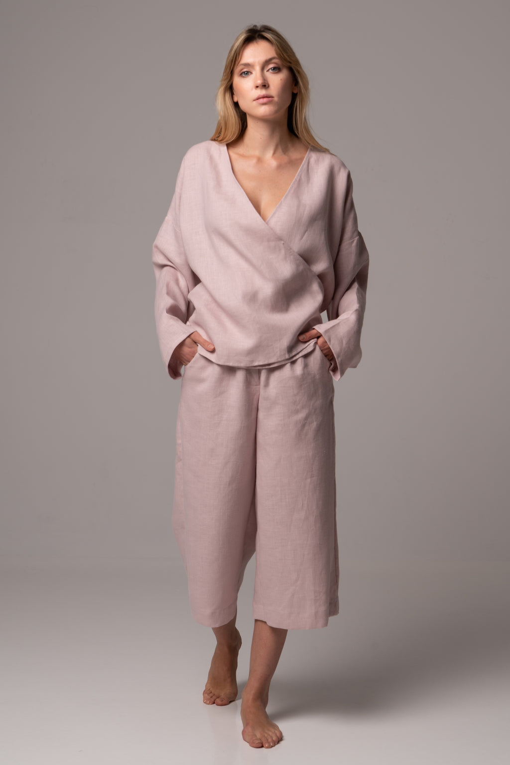 Touch of Sand Long Sleeve Wrap Top in Premium European Linen
