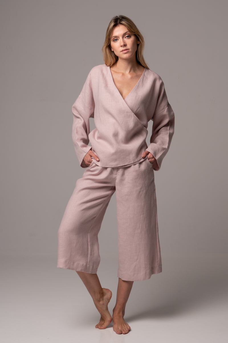 Sandbank Long Sleeve Wrap Top in Premium European Linen