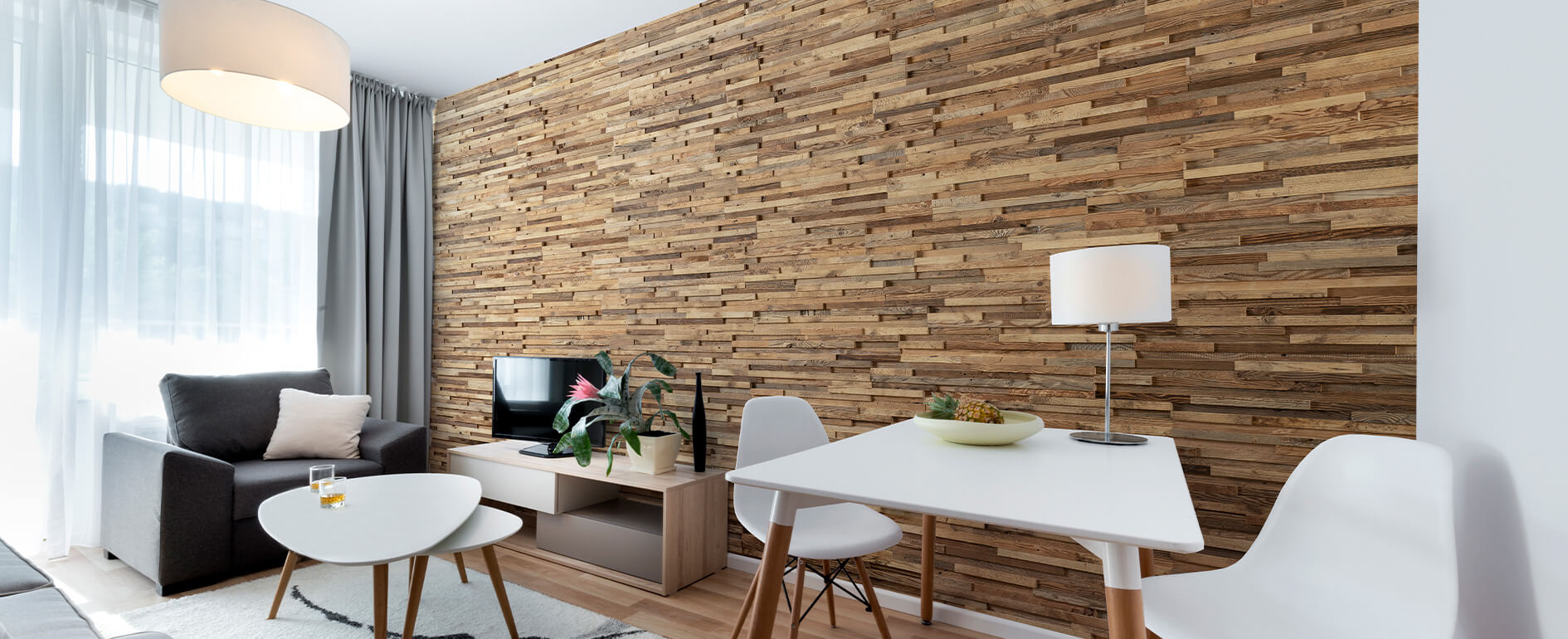 3d wooden slat wall panels used in a living room