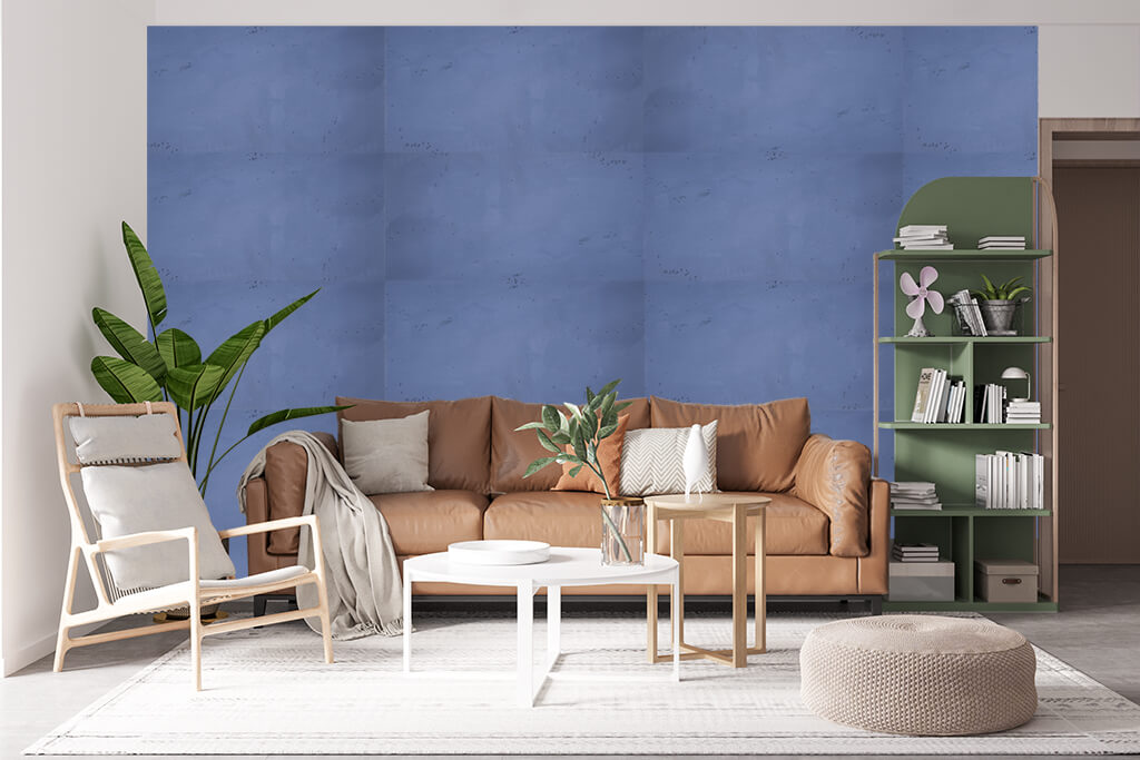 Concrete wall panels in blue in a living room with natural colours and greenery