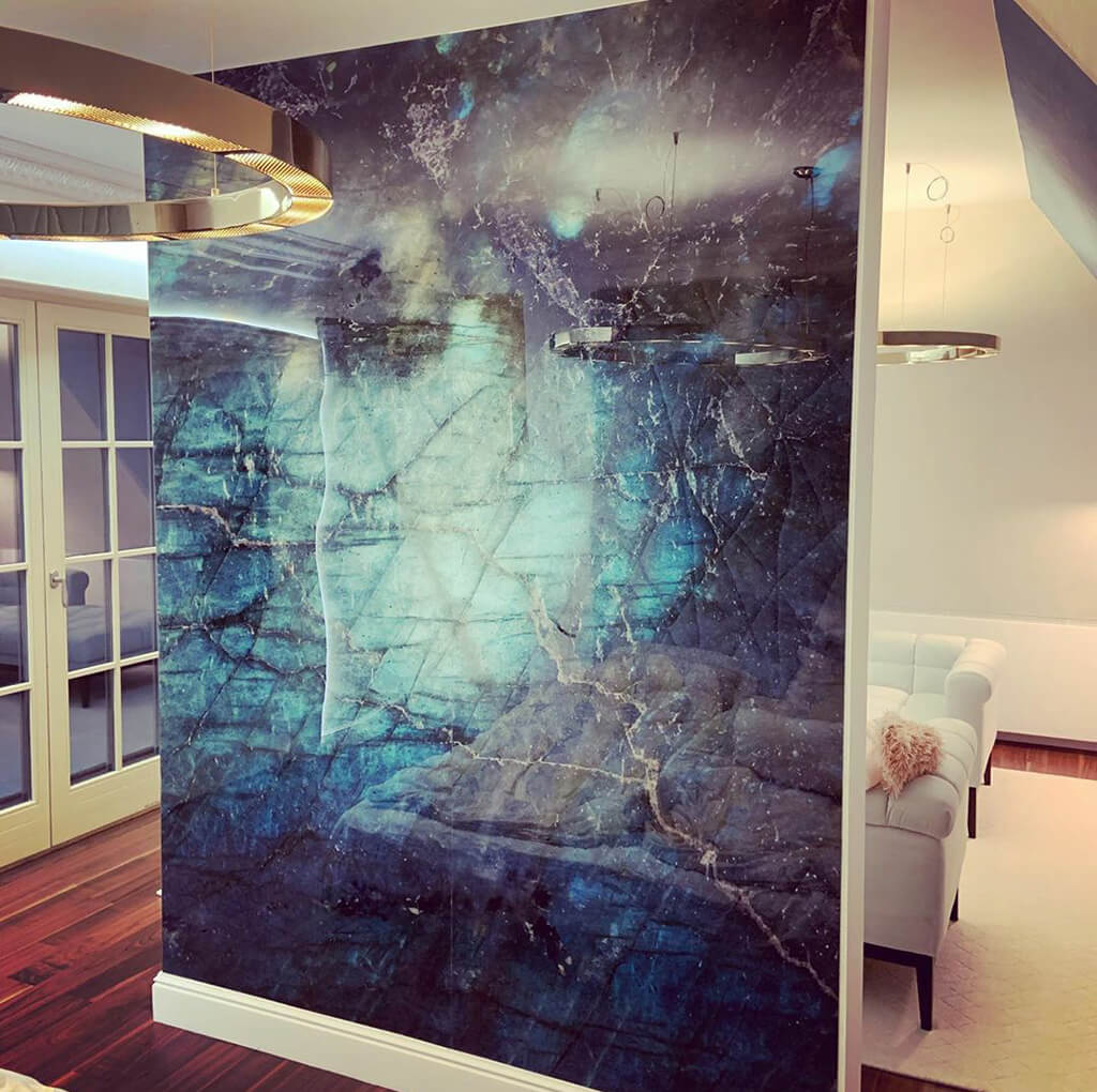 Blue wall panel installed on a partition wall