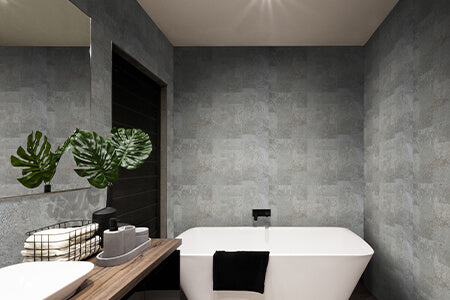 A stylish minimal bathroom with the walls covered in taupe cork designer wall panels
