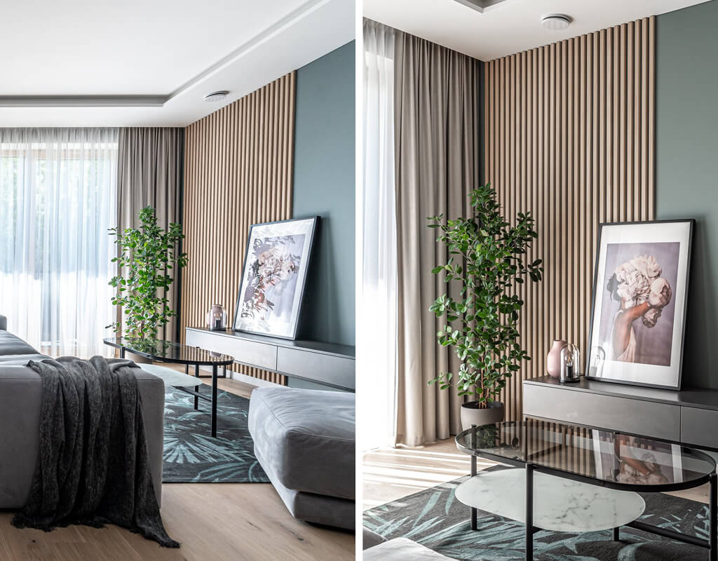 Fluted wall panels installed on a green living room wall