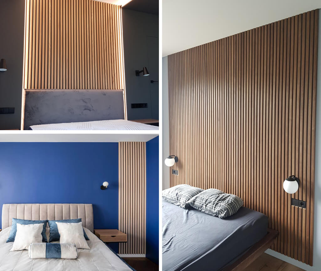 3 images of fluted wall panels installed behind or the the side of the bed