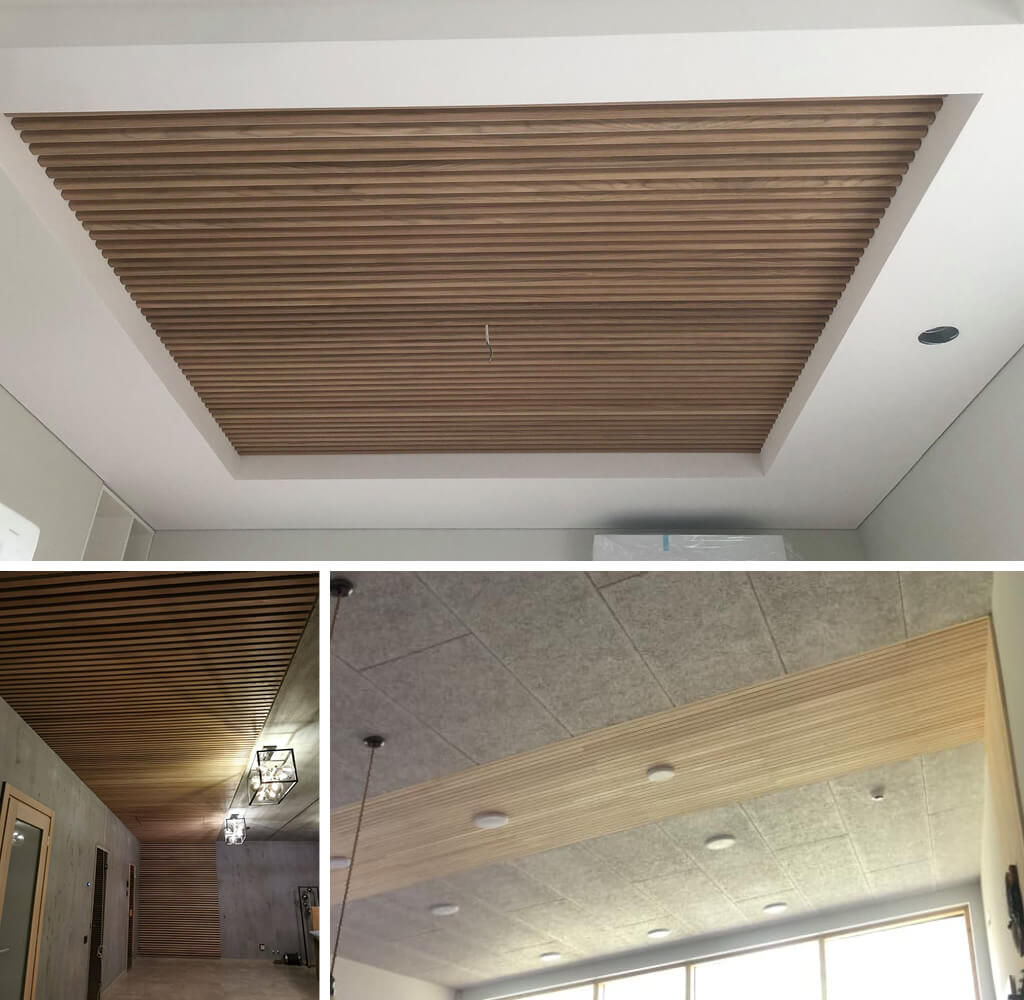3 instances of fluted wall panels installed on the ceiling.