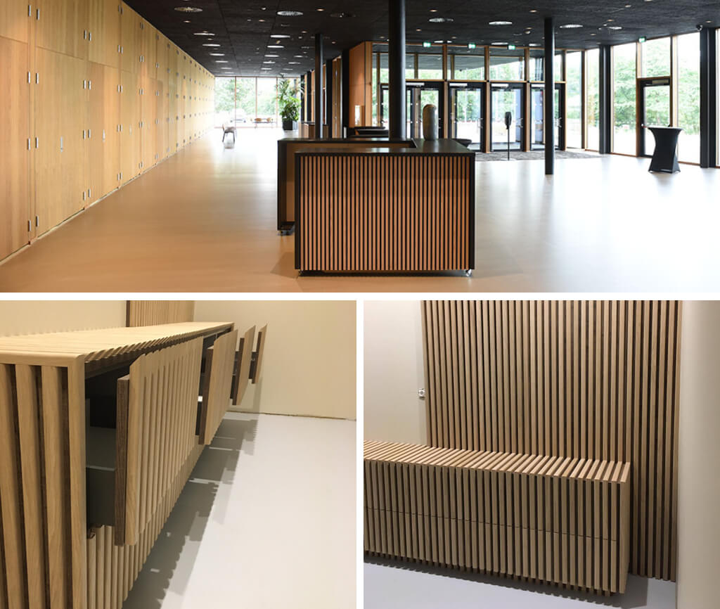 3 images of fluted wall panels installed on furniture such as a reception desk.