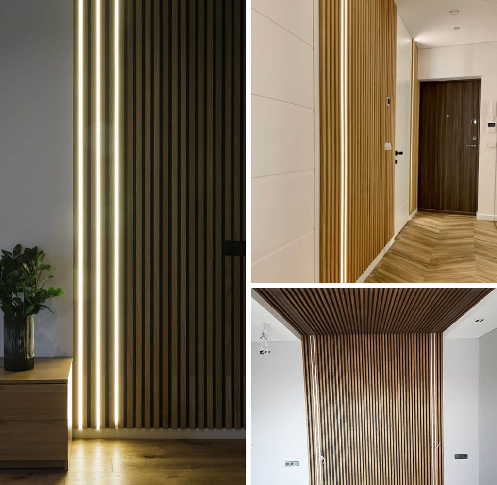 3 images of fluted wall panels installed on walls with LED lighting in-between some of the gaps.