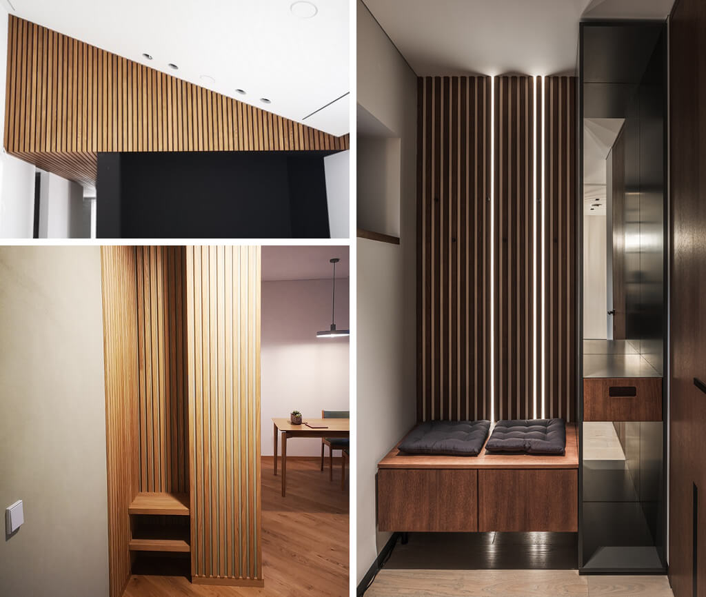 3 images of where fluted wall panels have been installed in awkward spaces such as small spaces or odd angles.