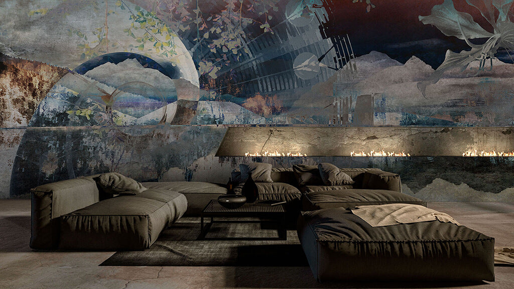 Stunning abstract luxury wall mural with a built in fireplace