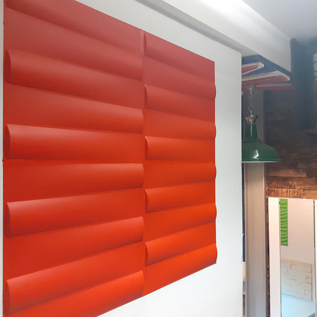 3D wall panel Jayden painted red within out Bolton showroom.