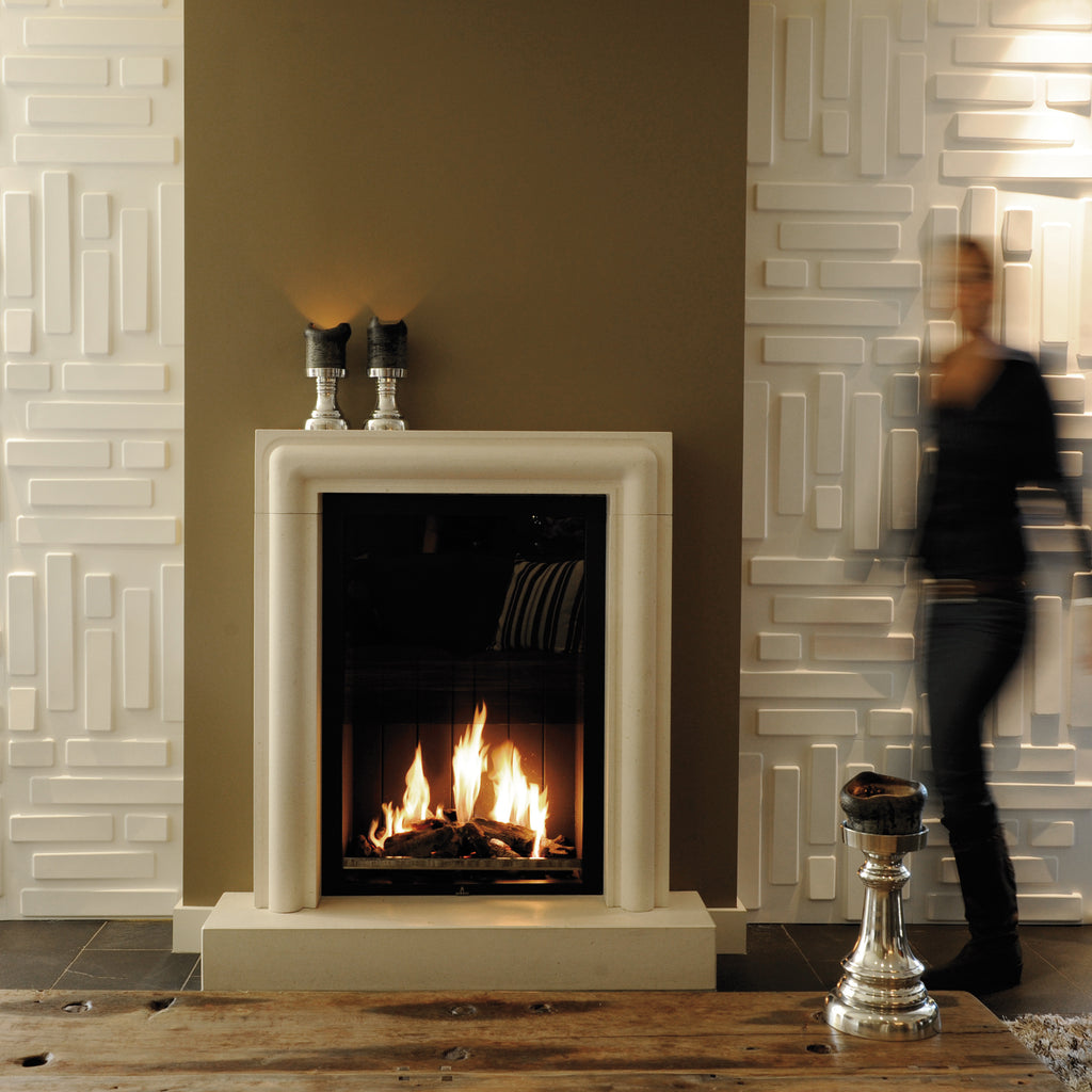 Easy install contemporary 3D wall panel Bricks installed within a living room surrounding a chimney breast and fireplace
