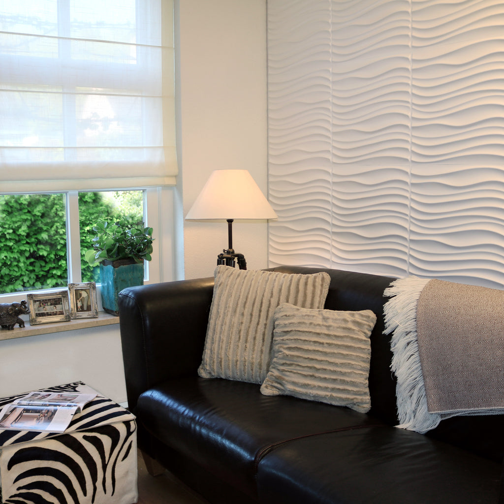 Decorative 3D wall panels within a living room