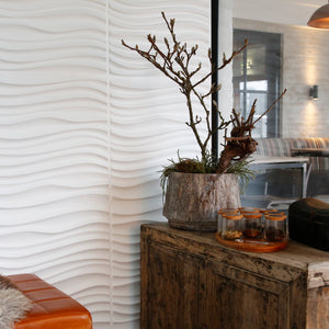 3D wall panels with a decorative wavy pattern