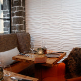 Decorative 3D wall panels used within a cafe
