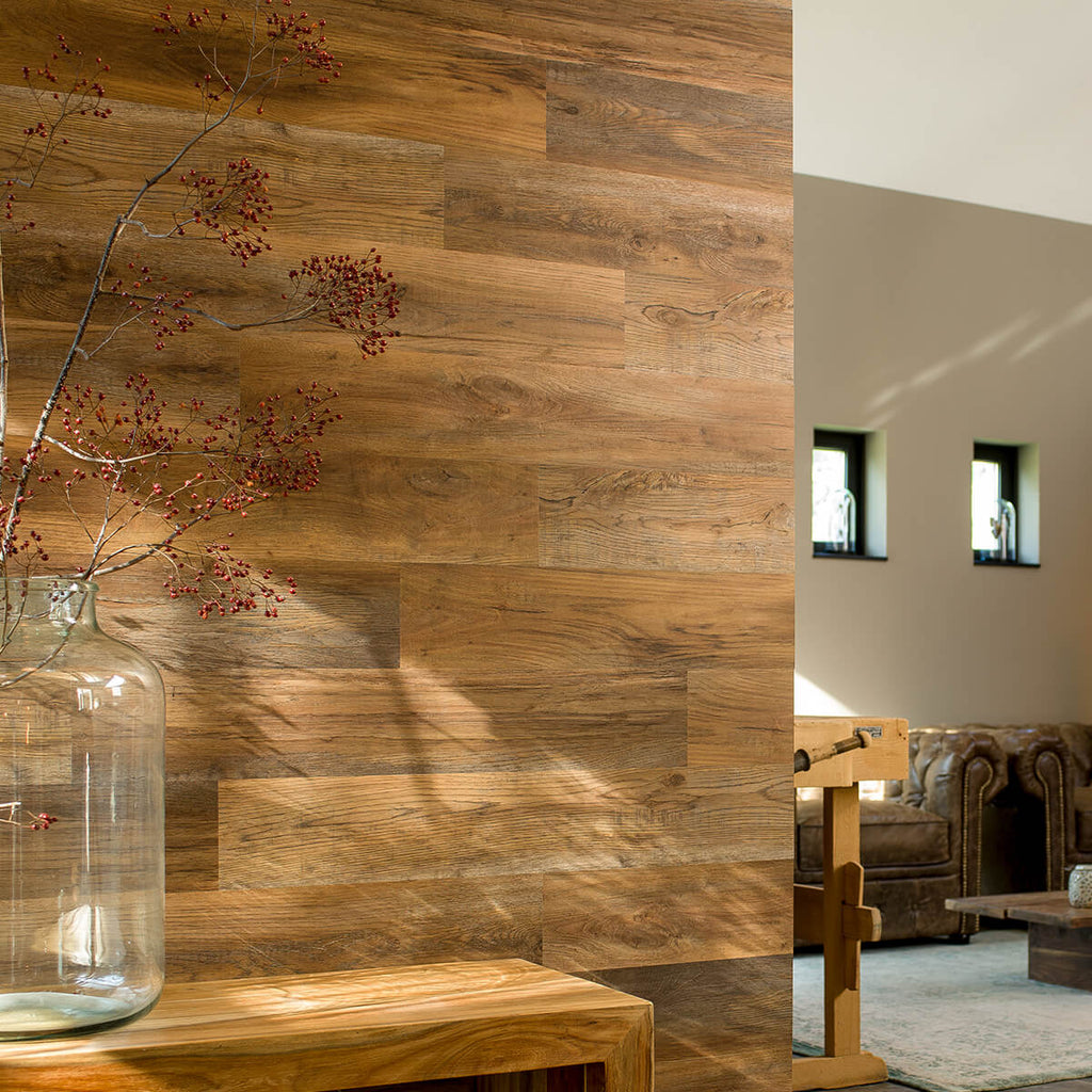 Vinyl Wood Effect Wall Panels - Barnwood Oak Umber Brown 1sqm
