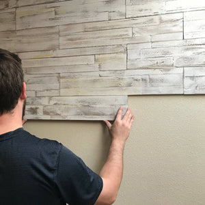 Application of DIY wood panelling product Brushed Coral Peel & Stick panels