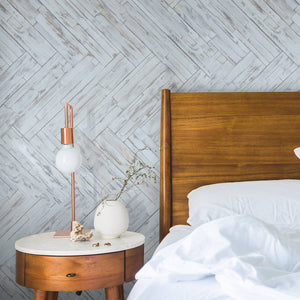 Peel & stick wood wall panelling within a bedroom