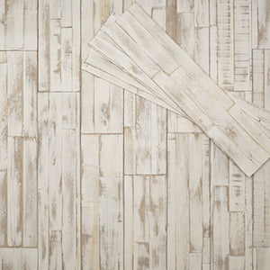 Peel and stick DIY wood wall panelling in coral
