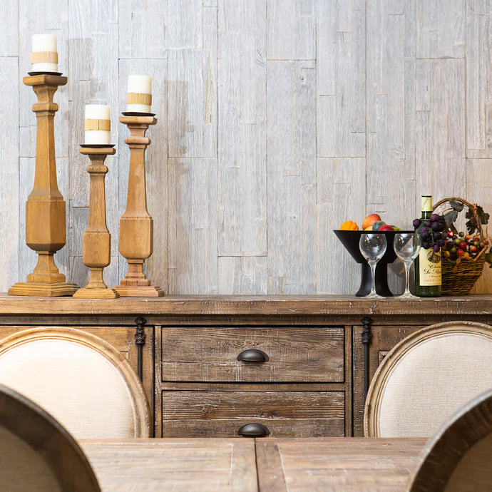 Peel and stick wood wall panelling has been easily applied to a dining room wall.