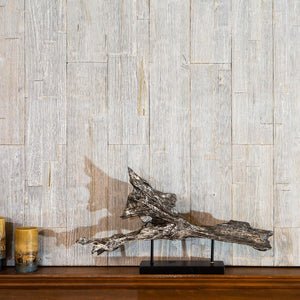 Wood wall panelling in real reclaimed timber