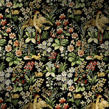 Load image into Gallery viewer, Close up of vibrant floral tapestry wallpaper. The design features an array of flowers, birds and woodland creatures.