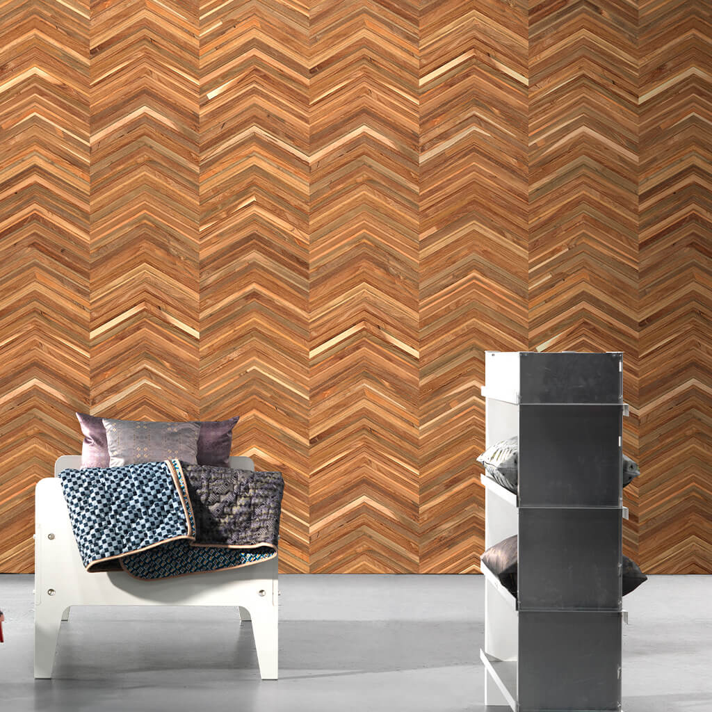 NLXL Wallpaper - Herringbone Wood Effect - 4.9m²