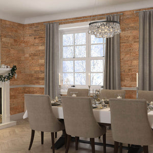 Timber wall panelling in a dining room