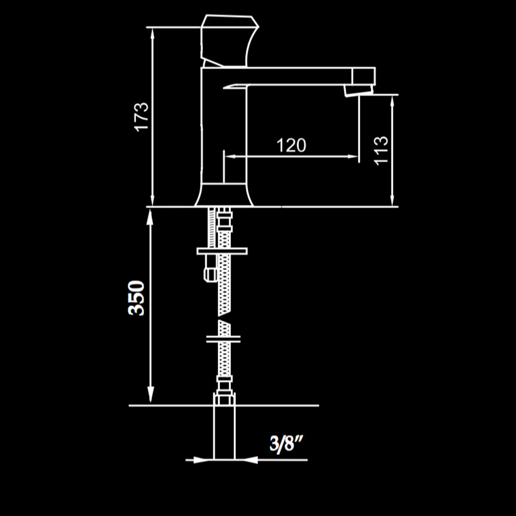 Technical drawing of the Maier Swarovski detailed basin mixer.