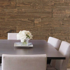 Wood wall panelling as a feature wall in a dining room