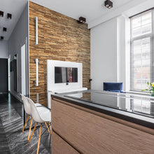Load image into Gallery viewer, Reclaimed wood wall panelling added to an apartment