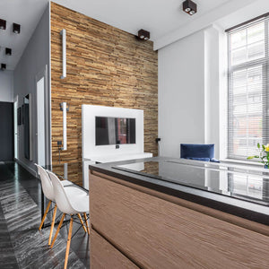 Reclaimed wood wall panelling added to an apartment