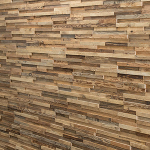 Close up of reclaimed wood wall panelling 'Apriori'