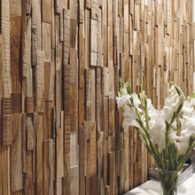 Load image into Gallery viewer, Reclaimed wood wall cladding applied vertically to a wall for a beautiful backdrop