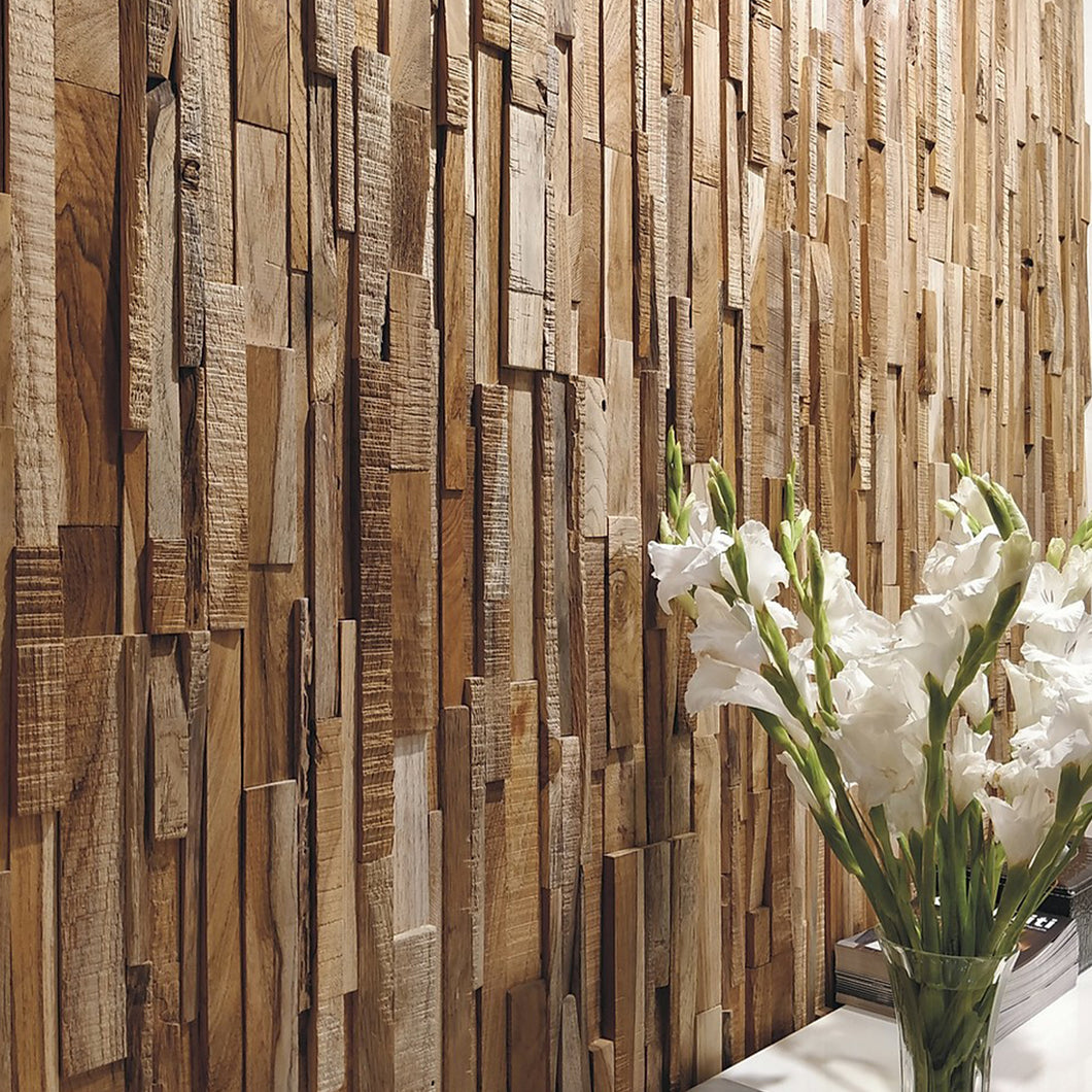 Reclaimed wood wall cladding applied vertically to a wall for a beautiful backdrop